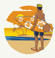 hand drawing surfer with the surfboard vector image
