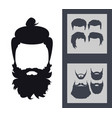 hipster fashion set bearded face avatar vector image
