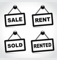 house rent and sale signs vector image vector image