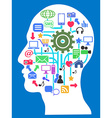 human head with media network icons vector image vector image