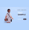indian student with mustache and beard holding vector image