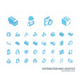 logistic and distribution isometric line icons 3d vector image