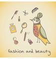 makeup cosmetics and fashion beautiful bird vector image