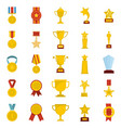 medal award icon set isolated flat style vector image vector image