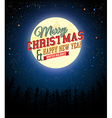 Merry Christmas and Happy New Year retro poster vector image