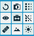 picture icons set with reload brightness switch vector image vector image