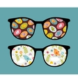 Retro sunglasses with birds reflection in it vector image vector image