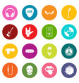 rock music icons many colors set vector image vector image