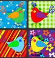 Seamless patchwork birds vector image vector image