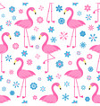 seamless pattern with flamingo birds and flowers vector image vector image