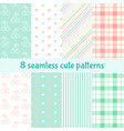 set cute seamless patterns background with vector image
