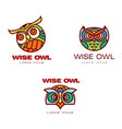 set of logo logotype templates with owl heads vector image vector image