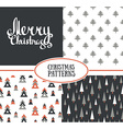 Set of three seamless patterns with stylish vector image