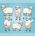 sheep with cartoon style set vector image vector image