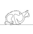 sitting cat continuous line art vector image vector image