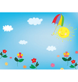 Sun and sky background for children vector image vector image