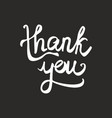 thank you black and white handwritten card vector image