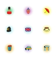 Tourism in United Kingdom icons set pop-art style vector image vector image