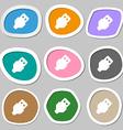 USB icon symbols Multicolored paper stickers vector image
