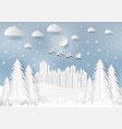 winter season with snowflake and santa in town of vector image