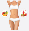 woman body with healthy and unhealthy food vector image