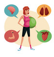 woman sports training fitball lifestyle vector image