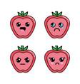kawaii apple diferents faces icon vector image