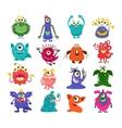 Cartoon cute monsters set vector image