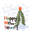Grunge christmas tree New Year background vector image