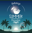 poster sunset landscape of palm trees on the beach vector image