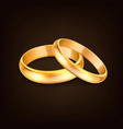 3d realistic gold metal wedding rings for vector image