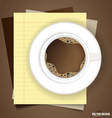 A cup of coffee with note papers ready for your vector image