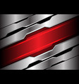abstract red light banner on silver polygon vector image vector image