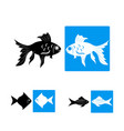 black fish icons vector image vector image