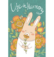 bunny card with cute hand drawn flowers vector image
