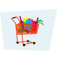 cart is full useful goods vector image