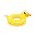 cartoon color swimming ring toy duck on a white vector image