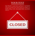 closed door sign flat icon on red background vector image vector image