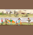 colorful military horizontal banners vector image vector image