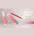 cosmetic ads banner realistic make up pencil vector image