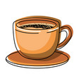cup of coffee with handle on dish colorful vector image vector image