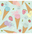 Cute seamless pattern with ice creams strawberrie vector image