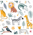 cute seamless pattern with safari animals vector image vector image