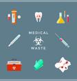 dangerous medical waste management set vector image