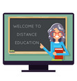 distance education teacher pc monitor flat design vector image