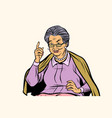 elderly woman pointing finger up isolated on vector image vector image