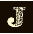 Elegant capital letter J in the style Baroque vector image vector image
