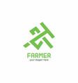 farmer with tool symbolic logo vector image vector image
