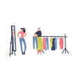 flea market woman shopping stuff and second vector image vector image