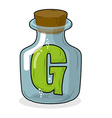 G in bottle for scientific research letter in a vector image vector image